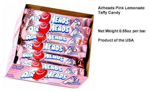 Airheads Pink Lemonade Candy Taffy 36ct box