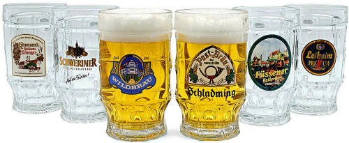 Bellheimer German Beer Stein Glass - Authentic German Beer Steins - Authentic German Beer Mugs - Authentic German Beer Glass 14oz