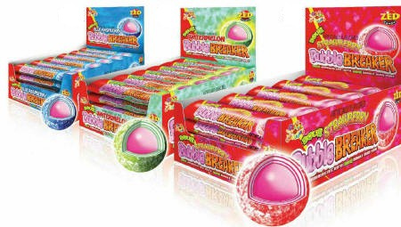 Bubble Breakers Blue Raspberry - Watermelon - Strawberry 36ct box