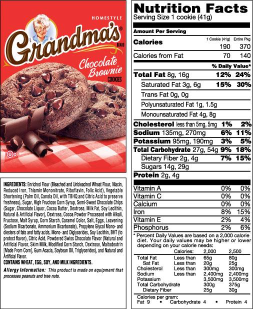 Grandma's Chocolate Brownie Homestyle Cookies 2 cookies per pack 2.5oz Cookies