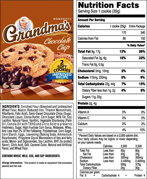 Grandma's Homestyle Chocolate Chip Cookies 5oz Trays