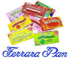 Ferrara Pan Chewy Tropical Candy Appleheads - Jaw Busters - Atomic Fireball - Grapehead - Cherryhead - Lemonhead - Orangehead - Chewy Lemonhead - Chewy Berry - Chewy Tropical - Boston Baked Beans - Chewy Redhead 24ct boxes