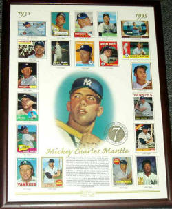 Mickey Mantle Topps Commemorative Card Sheet