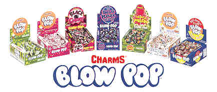 Charms Blow Pops 48ct - Tootsie Pops - Charms Tropical Stormz Caramel Apple Tangerine Mango Black Cherry Blue Raspberry WhataMelon Way 2 Sour Assorted Black Ice Cotton Candy Sour Apple Sweet and Sour