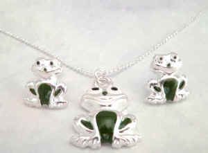 Frog Necklace / Earring Set