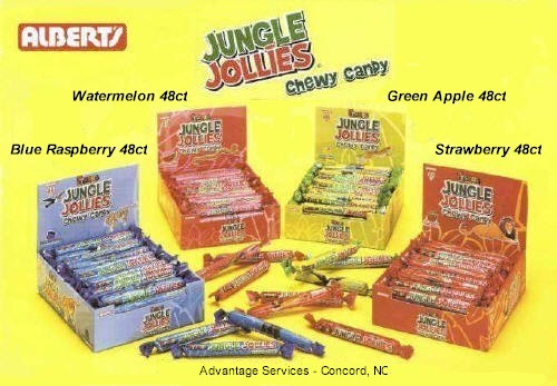 Jungle Jollies Strawberry Watermelon Blue Raspberry Green Apple 48ct box